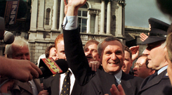 Then Fianna Fáil leader Bertie Ahern celebrates outside the Dáil after being elected as Taoiseach in July 1997. Photo: Photocall