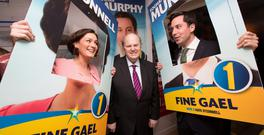 Finance Minister Michael Noonan (centre) visiting the constituency office of Dublin South East TD Eoghan Murphy (right) and FG candidate Kate O'Connell (left). Photo: Naoise Culhane