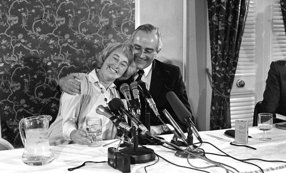 Kidnap: Jennifer Guinness with her husband John at a news conference following her release on April 18, 1988. She had been held for eight days. Photo: Frank McGrath