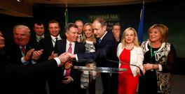 Fianna Fáil leader Micheál Martin is congratulated at the party's ard fheis. Photo: Conor McCabe Photography