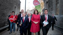 Labour's Brendan Howlin, Joan Burton and Alan Kelly; the party says it wants to let people vote on the Eighth Amendment. Photo: Tom Burke