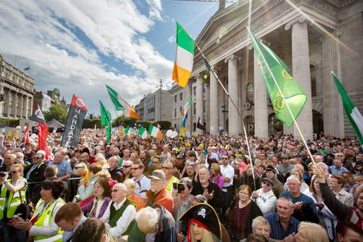 Anti-water charges protesters gather on O'Connell Street, Dublin, during a rally last August. Photo: Tony Gavin
