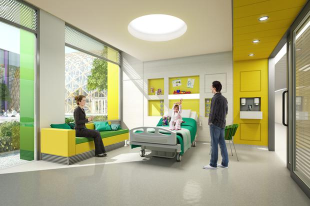 An artist's impression of a room in the new National Children's Hospital to be built beside St James's Hospital in Dublin