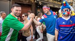 Irish and French fans in Lyon before Ireland's Euro 2016 clash with France. Photo: Mark Condren