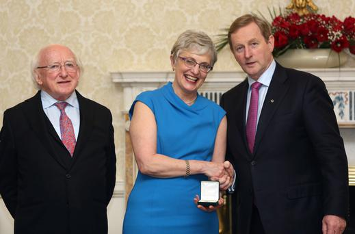 President Michael D Higgins, Minister for Children Katherine Zappone and Taoiseach Enda Kenny. Photo: Colin Keegan/Collins Dublin