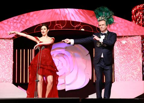 Sydney Rose Brianna Parkins dancing on stage with host Dáithí Ó Sé during the Rose of Tralee. Photo: Frank McGrath