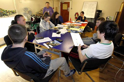 Junior Cert students studying at East Wall in Dublin city