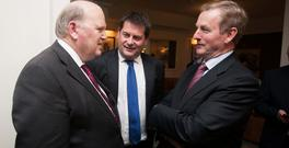Finance Minister Michael Noonan, Minister of State for European Affairs Dara Murphy and Taoiseach Enda Kenny at Fine Gael's annual party meeting at the Keadeen Hotel, Newbridge, Co Kildare. Photo: Gareth Chaney