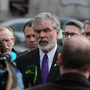 Sinn Féin President Gerry Adams (centre) addresses the media at Leinster House, Dublin. Photo: Stephen Collins