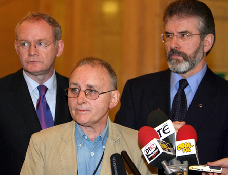 From left: Sinn Féin's Martin McGuinness, Denis Donaldson and Gerry Adams in Stormont, in 2005, before Donaldson was unmasked as a British informer. Photo: Paul Faith/PA