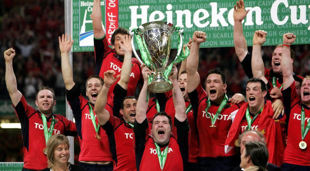 Munster captain Anthony Foley lifts the Heineken Cup at the Millennium Stadium, Cardiff, in 2006. Photo: David Davies/PA