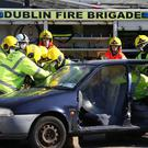 The emergency services cut a crash victim from a car during a demonstration day at the Dublin training centre Picture: Collins