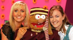 'The Disney Club', RTÉ 2's children's TV show from 2005 with presenter Emma O'Driscoll (left) and Brid Treasa Wyndham with Socky, one of the stars of 'The Den'. RTÉ will no longer be making its own children's shows
