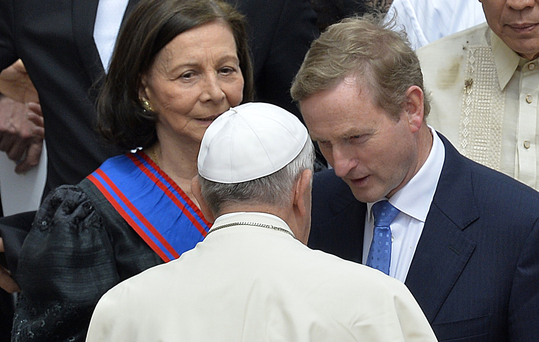 Mr Kenny meets Pope Francis after the canonisation of Popes John XXIII and John Paul II in Rome in 2014 Picture: AFP/Getty