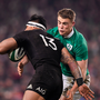 Malakai Fekitoa of New Zealand is tackled by Garry Ringrose of Ireland at the Aviva Stadium last month