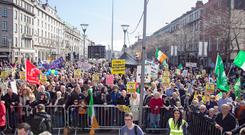 Anti-water charges protesters assemble on Dublin's O'Connell Street in March 2015 Photo: Tony Gavin