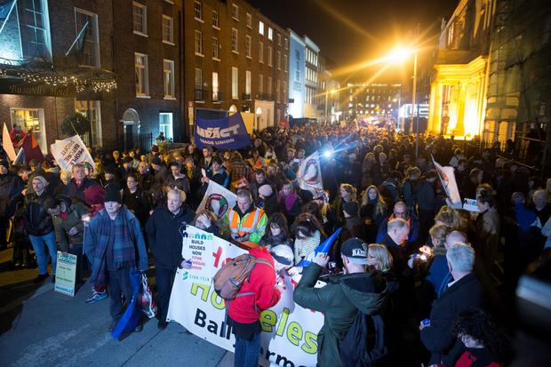 People protest outside Leinster House about the increase in homelessness on the first anniversary of the death of Jonathan Corrie in 2015. Photo: Arthur Carron