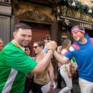 June, 2016: Irish and French fans in Lyon before Ireland's Euro 2016 clash with France Photo: Mark Condren
