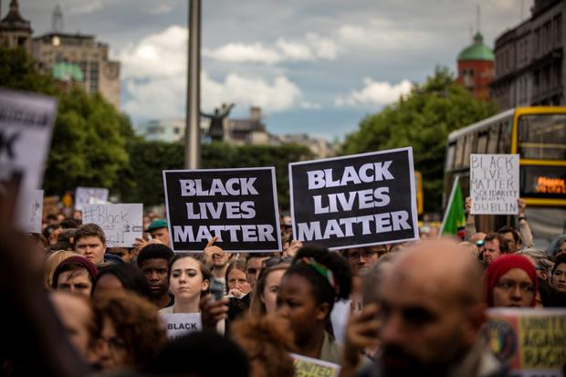 Protesters at a July 2016 rally in solidarity with the US Black Lives Matter movement, on O'Connell Street, Dublin. Photo: Arthur Carron