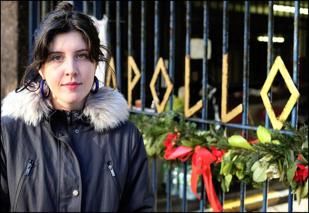 Campaigner Rosie Leonard, of the Irish Housing Network, outside Apollo House in Dublin. Photo: Steve Humphreys.