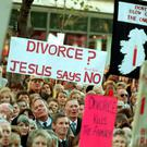 Protesters at an anti-divorce rally in Dublin before the second divorce referendum in 1995. Photo: RollingNews.ie