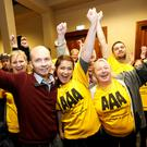 Anti Austerity Alliance TD Paul Murphy (front left) at an election count in 2016. 'The AAA is one of the groupings that comprise Ireland's hard left' Picture: RollingNews.ie