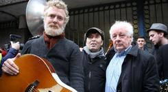 Glen Hansard, Christy Dignam and Jim Sheridan protest outside Apollo House, Dublin Picture: Gerry Mooney