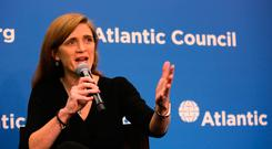 Samantha Power speaks during a discussion at the Atlantic Council on 'The Future of US-Russia Relations' in Washington, DC, yesterday. Photo: Joe Raedle/Getty Images
