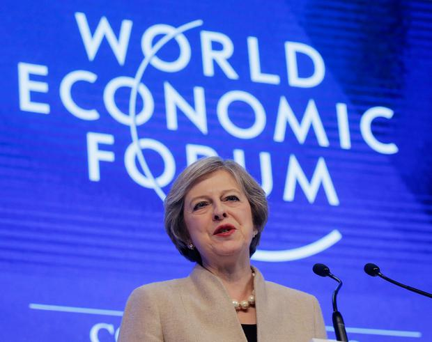 British Prime Minister Theresa May speaks on the third day of the annual meeting of the World Economic Forum in Davos, Switzerland. Photo: AP
