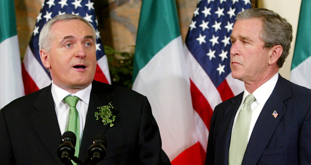 Then-taoiseach Bertie Ahern (left) with the US president George W Bush at the White House for St Patrick's Day, 2003 Photo: Reuters