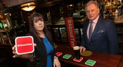 Deirdre Devitt, president of the Licensed Vintners' Association, and Pat Crotty, president of the Vintners' Federation of Ireland, launch their joint 2017 campaign for the lifting of the alcohol ban on Good Friday. Photo: Shane O'Neill Photography