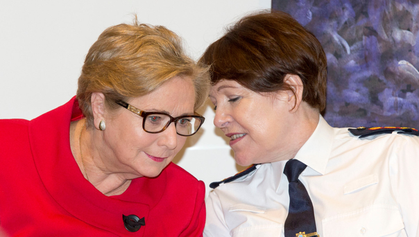 Justice Minister Frances Fitzgerald (left) and Garda Commissioner Nóirín O'Sullivan at the launch of the Policing Authority Code of Ethics for An Garda Síochána in January. Photo: Colin O'Riordan