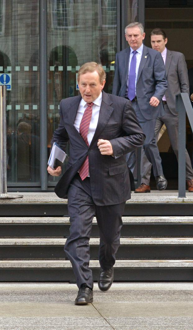 Taoiseach Enda Kenny leaving the All-Island Civic Dialogue on Brexit at Dublin Castle yesterday. Photo: Barbara Lindberg.