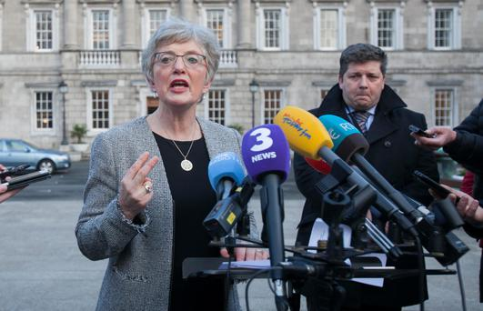 Children's Minister Katherine Zappone talks to the press about the Maurice McCabe affair outside Leinster House, Dublin. Photo: Gareth Chaney/Collins