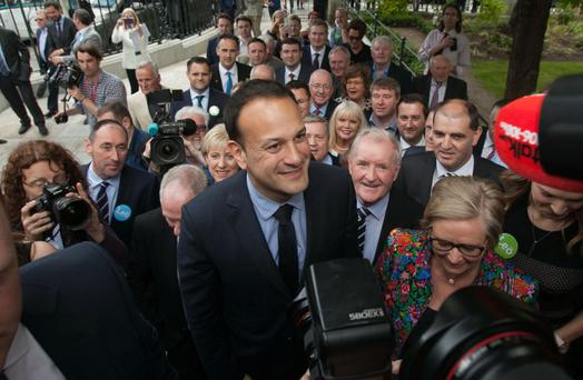 Leo Varadkar surrounded by his political supporters at the Mansion House in Dublin during the Fine Gael leadership contest. Photo: Gareth Chaney/ Collins