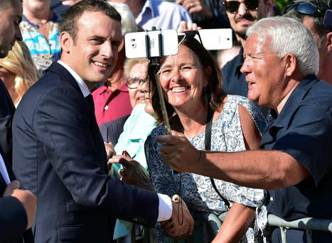 French President Emmanuel Macron after voting in the second round of parliamentary elections in Le Touquet, France, on Sunday. Photo: Reuters