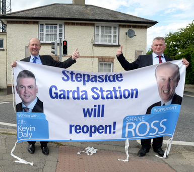 Shane Ross and Cllr for Glencullen/Sandyford Kevin Daly at the reopening of Stepaside garda station earlier this month. Photo: Justin Farrelly