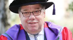 CAP THAT: The National University of Ireland last week gave Brian Cowen an honorary doctorate. Photo: Gerry Mooney