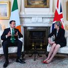 EVERYTHING TO PLAY FOR: Leo Varadkar and Theresa May in Downing Street. Photo: Facundo Arrizabalaga