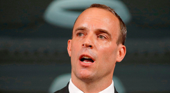 Deal or not: UK Brexit Secretary Dominic Raab speaking in London last week. Photo: PA
