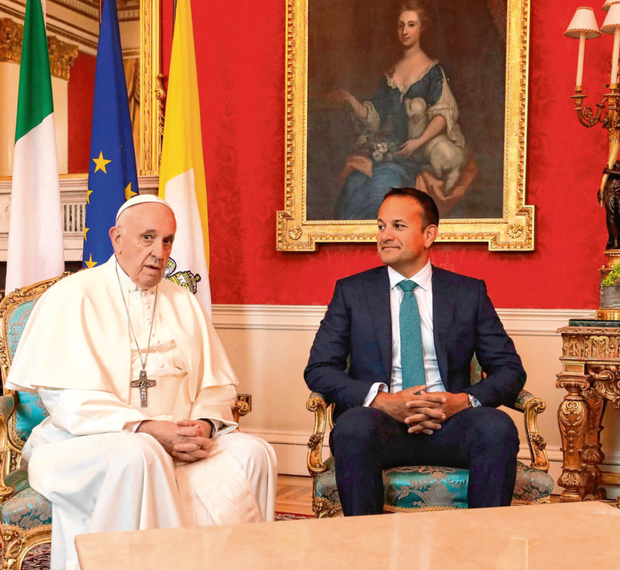 Pastoral visit: Pope Francis meets with Taoiseach Leo Varadkar at Dublin Castle. Photo: PA