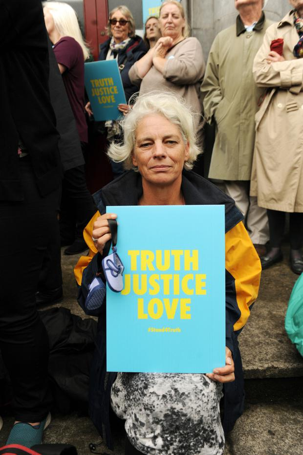 PLEA: Stand4Truth supporter Denise Clarke last Sunday. Photo: Caroline Quinnn