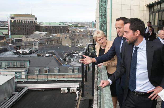 (L to R) Heather Humphreys, Leo Varadkar and Eoghan Murphy TD during the a launch of the establishment of the Land Development Agency. Photo: Gareth Chaney/Collins