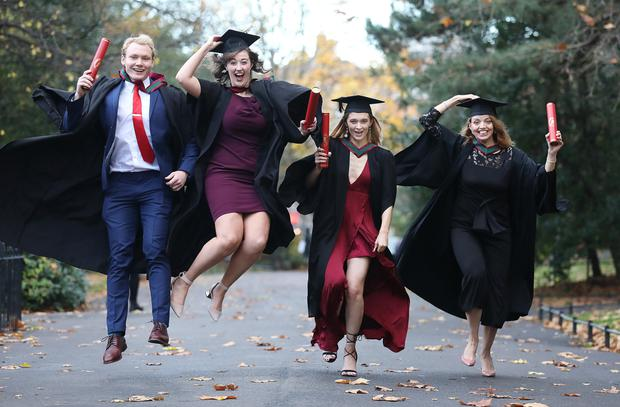 Cut above: Calum Quinn, Aine Mulvany, Laura Gleeson and Danya Elgahzel, who graduated with degrees in pharmacy and physiotherapy from Royal College of Surgeons in Ireland this week.