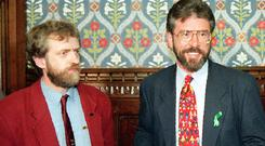Jeremy Corbyn and Gerry Adams at the House of Commons in 1995. Picture: PA