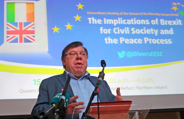 Impasse: Former Taoiseach Brian Cowen speaking on Friday at the European Economic and Social Committee conference at Queen's University in Belfast. Photo: PA