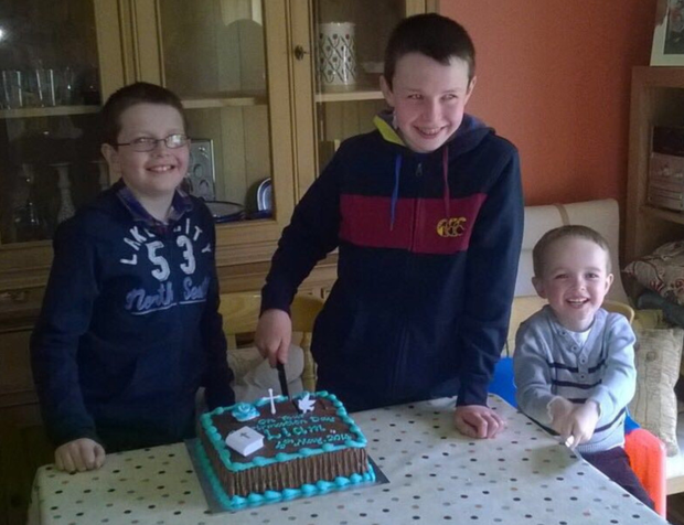 Niall, Liam and Ryan Hawe at their home in Castlerahan, near Ballyjamesduff, Co Cavan Credit: Jacqueline Connolly (sister of Clodagh Hawe)