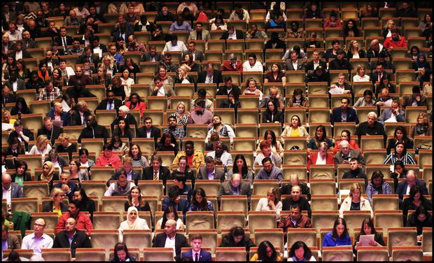 Citizens in waiting: Candidates attend their citizenship ceremony at the National Concert Hall in Dublin last year. Photo: Steve Humphreys