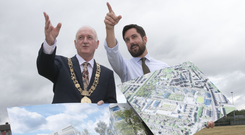 Must do more: Housing Minister Eoghan Murphy (right) with Lord Mayor of Dublin Nial Ring at the site of a proposed housing development at Richmond Barracks, Inchicore, Dublin