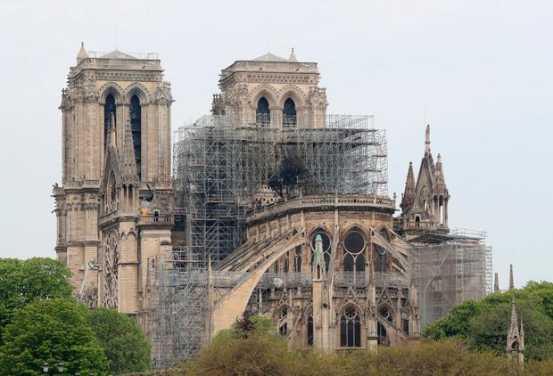 Still standing: The Notre-Dame Cathedral in Paris following the fire which destroyed part of the building. Photo: Gareth Fuller/PA Wire